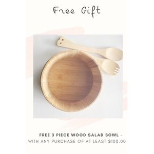 FREE GIFT- 3 Piece Wooden Salad Bowl